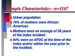 sample characteristics n 1167