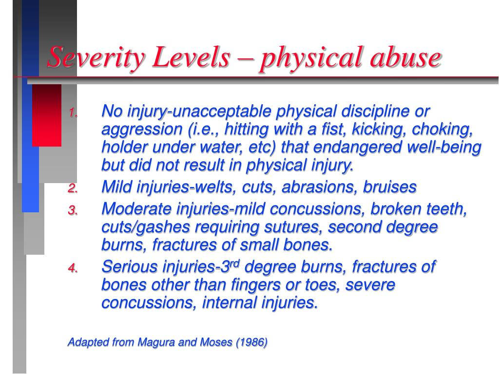 Severity Levels – physical abuse