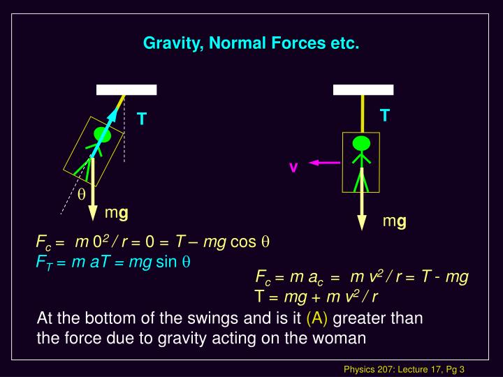 Gravity normal forces etc