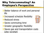 why telecommuting an employee s perspective