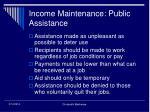 income maintenance public assistance