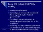 local and subnational policy making
