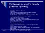 what programs use the poverty guidelines dhhs