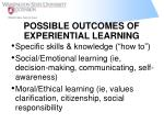 possible outcomes of experiential learning