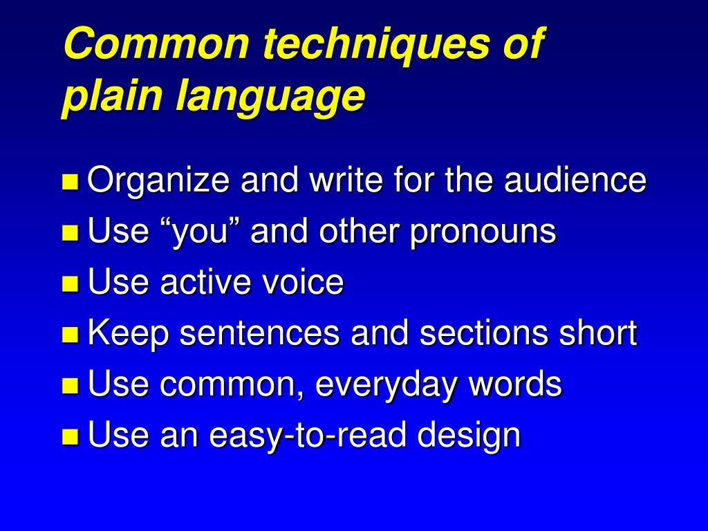 Common techniques of plain language