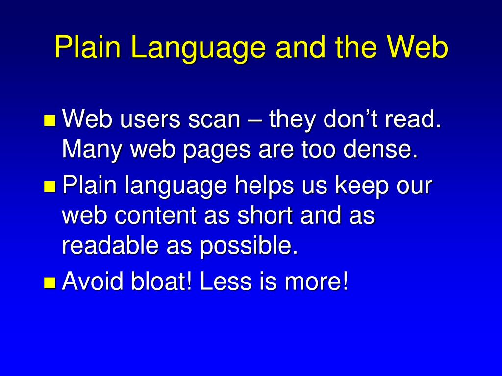Plain Language and the Web