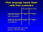 plain language means fewer calls from customers