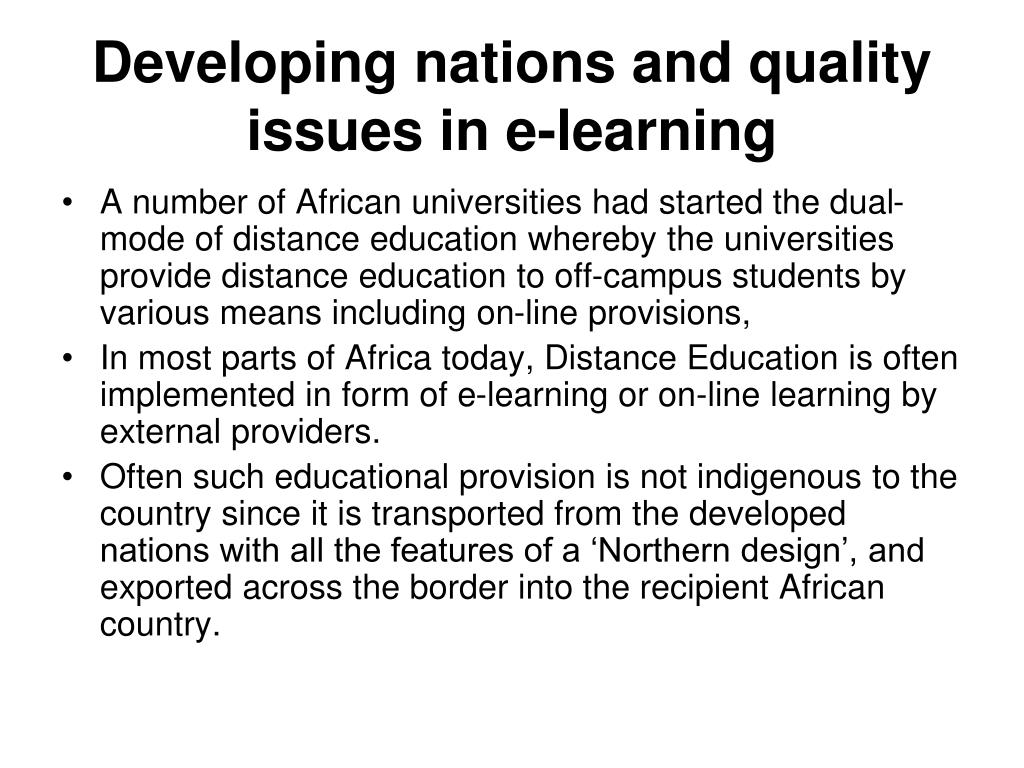 Developing nations and quality issues in e-learning