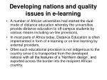 developing nations and quality issues in e learning