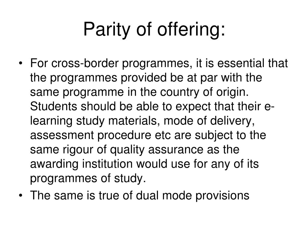 Parity of offering:
