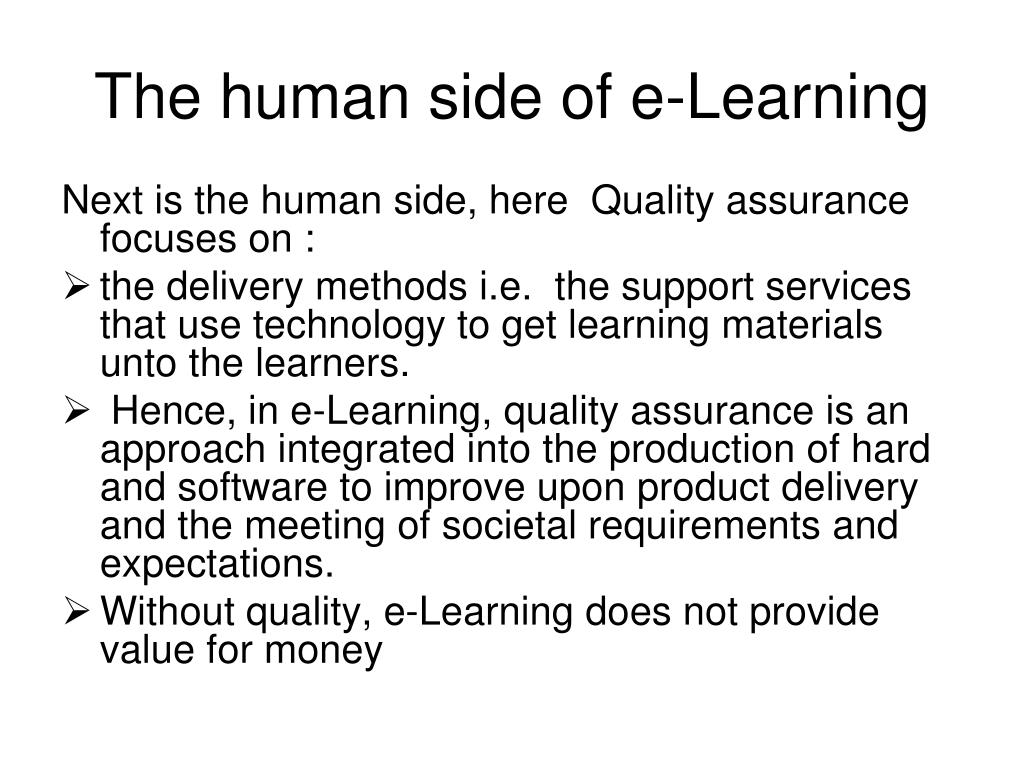 The human side of e-Learning