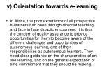 v orientation towards e learning
