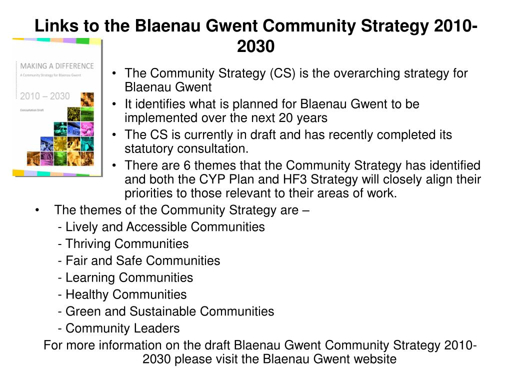 Links to the Blaenau Gwent Community Strategy 2010-2030