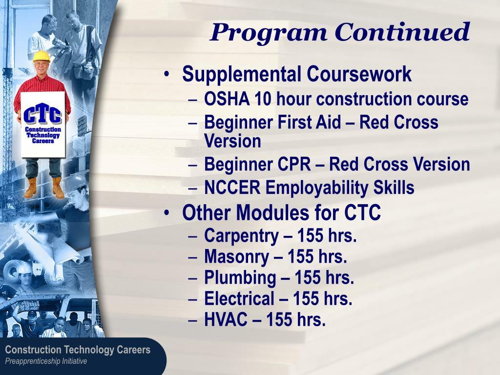 Program Continued