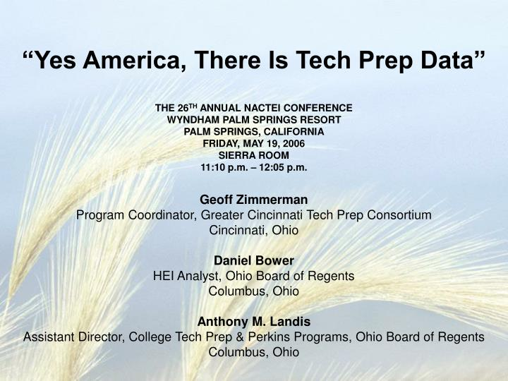 yes america there is tech prep data n.