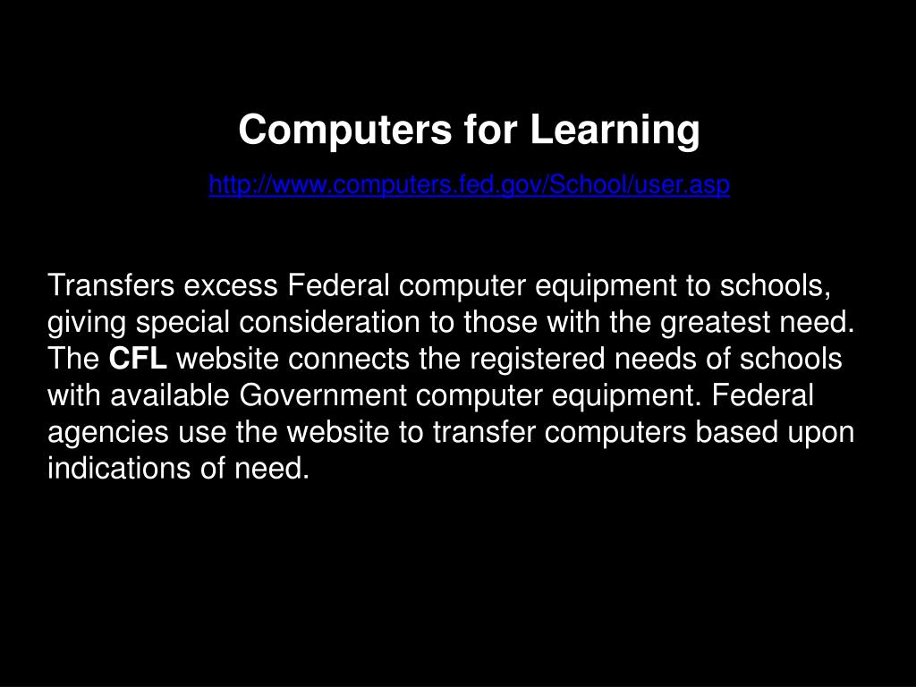 Computers for Learning