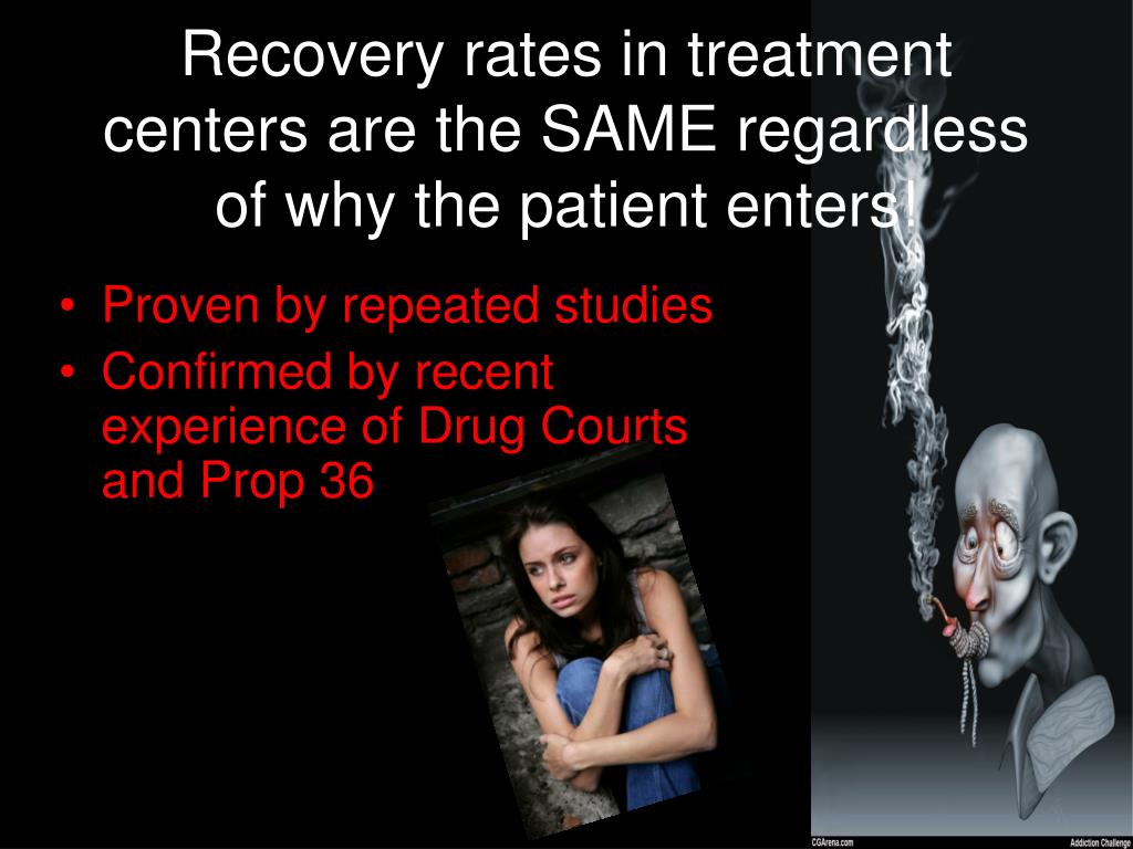 Recovery rates in treatment centers are the SAME regardless of why the patient enters!