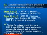 ex a student earns an 80 3 0 or above in the following statewide articulated courses47
