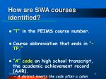 how are swa courses identified