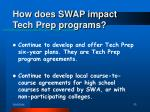 how does swap impact tech prep programs