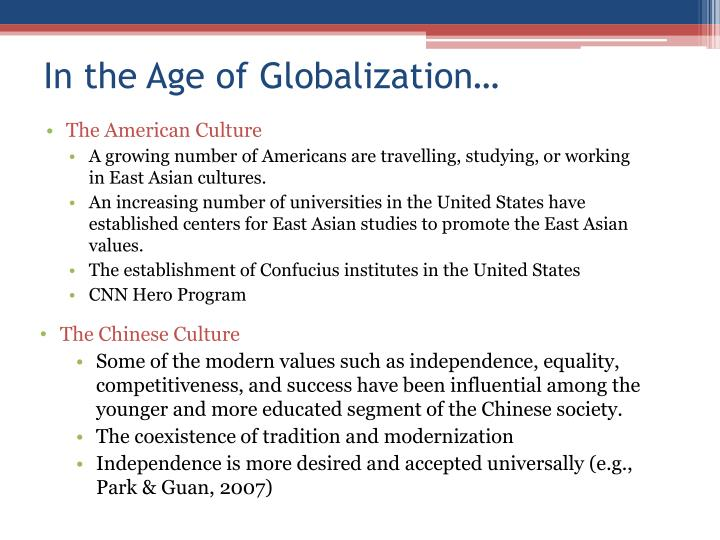 """a comparison of the asian and american culture Differences and similarities between american and chinese cultures chinese culture is thus known as """" divinely inspired, """" and is the only culture in the world to have a."""