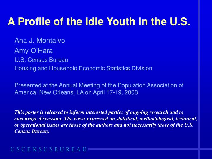 A profile of the idle youth in the u s