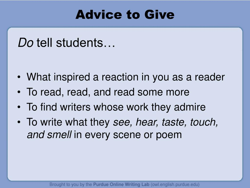 Advice to Give