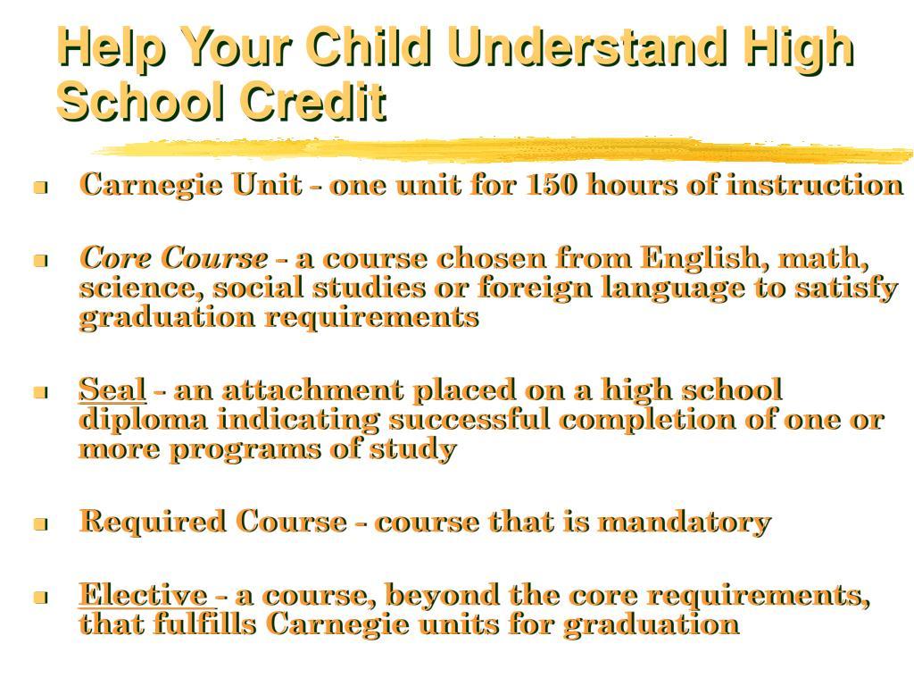 Help Your Child Understand High School Credit
