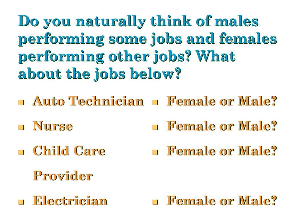 Do you naturally think of males performing some jobs and females performing other jobs? What about the jobs below?