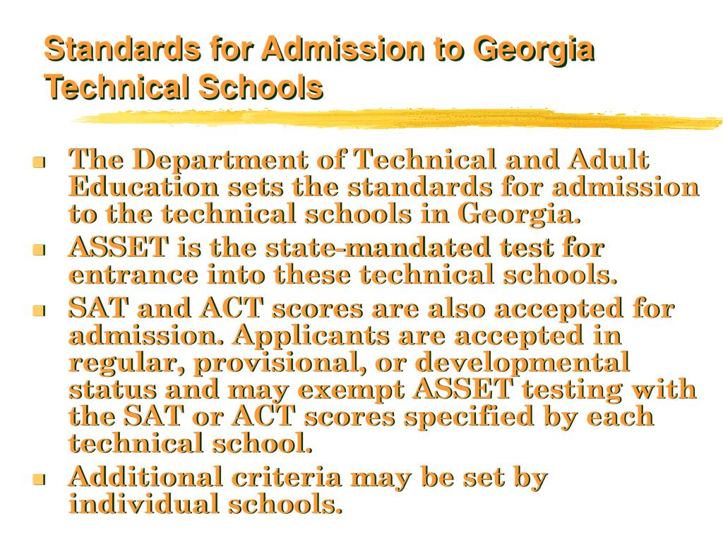 Standards for Admission to Georgia Technical Schools