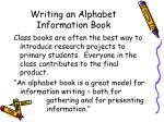 writing an alphabet information book