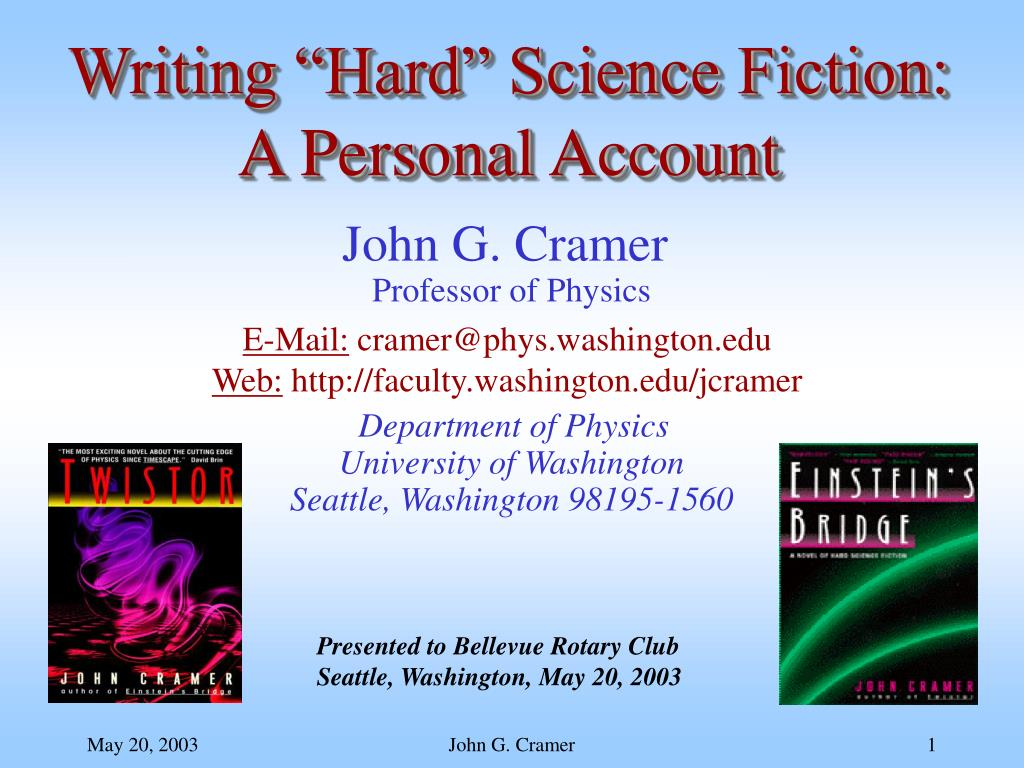 writing hard science fiction a personal account l.