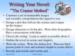 writing your novel the cramer method