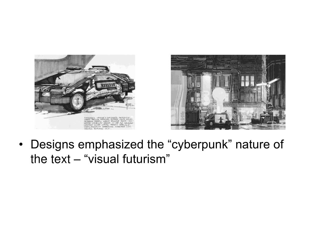 """Designs emphasized the """"cyberpunk"""" nature of the text – """"visual futurism"""""""