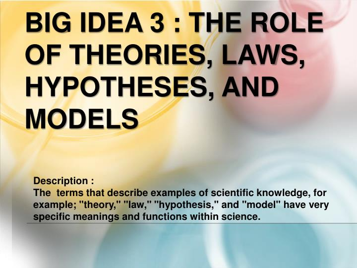 Ppt Big Idea 3 The Role Of Theories Laws Hypotheses And