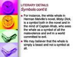 literary details symbols cont d