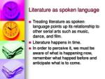 literature as spoken language