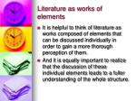 literature as works of elements