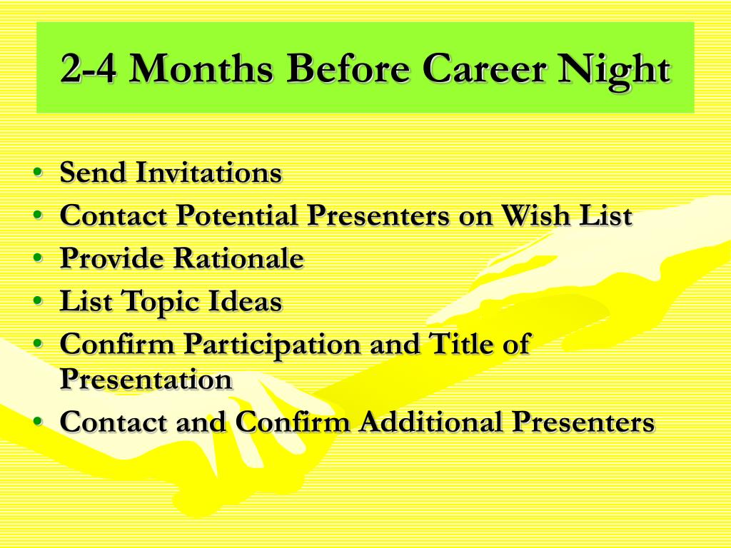 2-4 Months Before Career Night