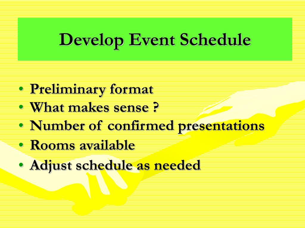 Develop Event Schedule