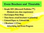 event brochure and timetable