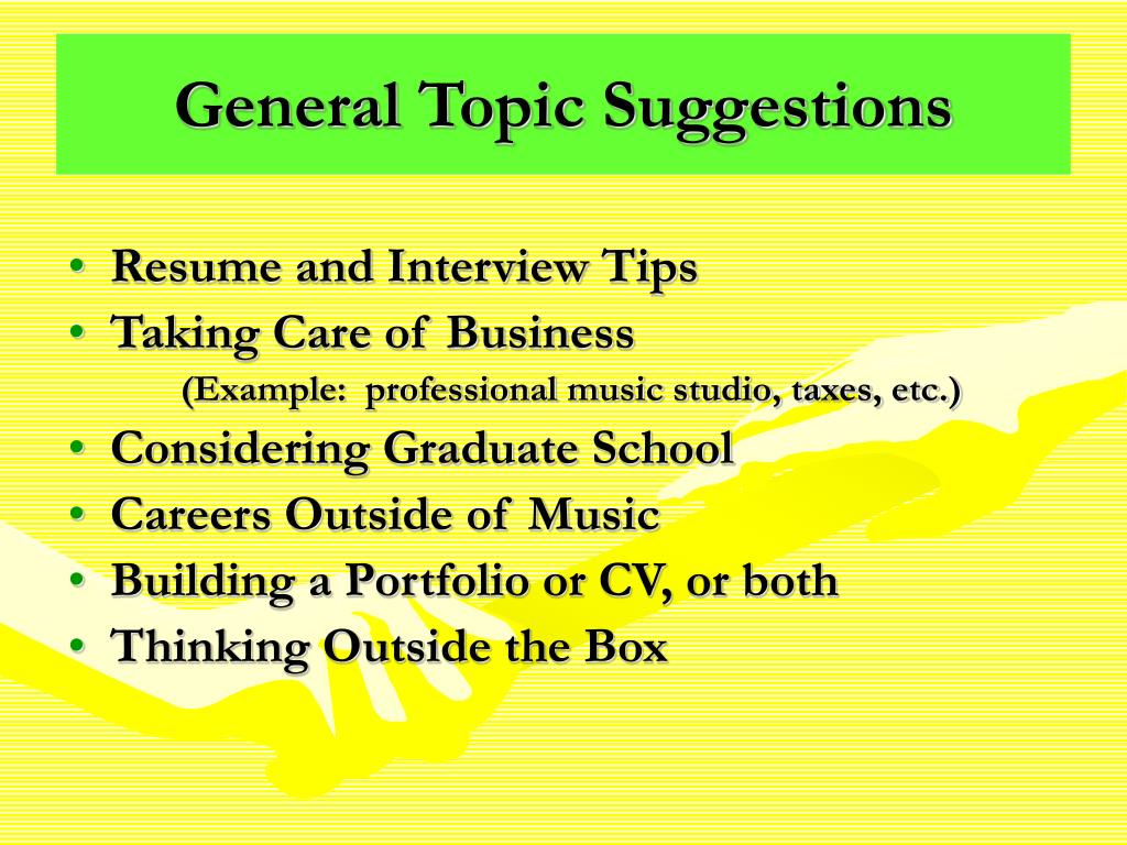 General Topic Suggestions