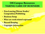 off campus resources taking care of business