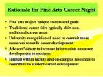 rationale for fine arts career night