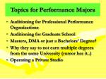 topics for performance majors