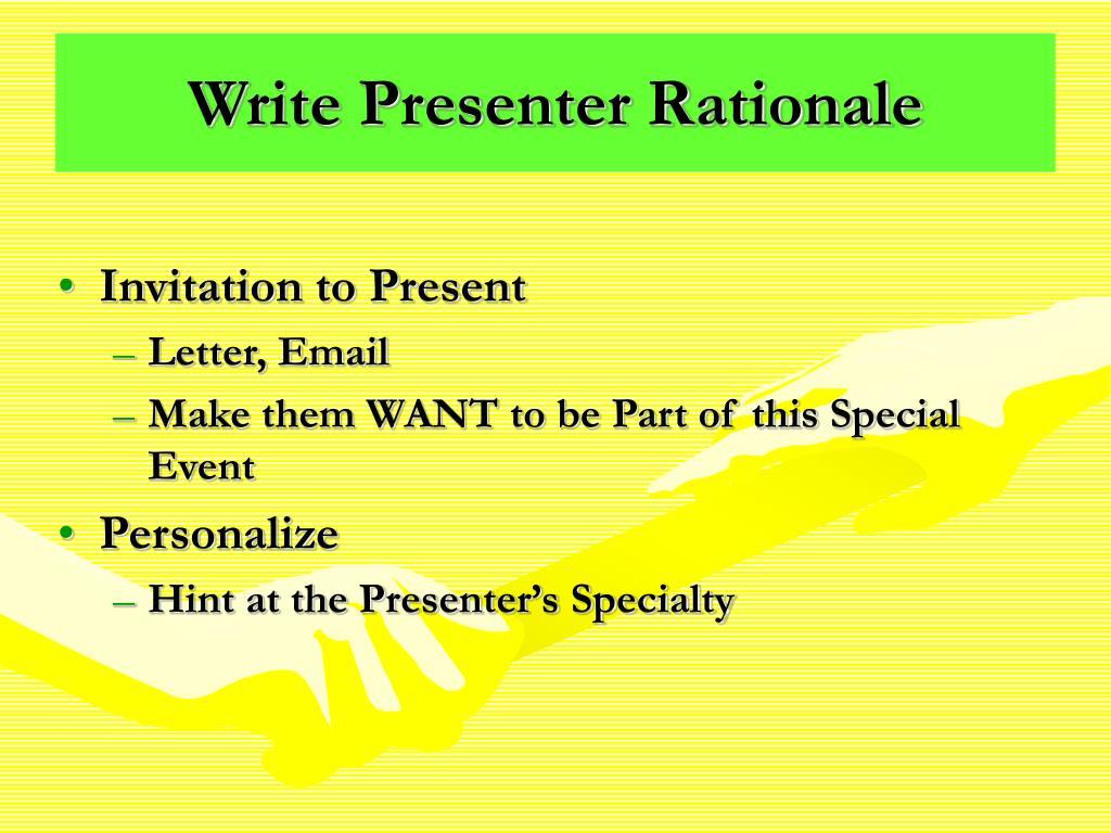 Write Presenter Rationale