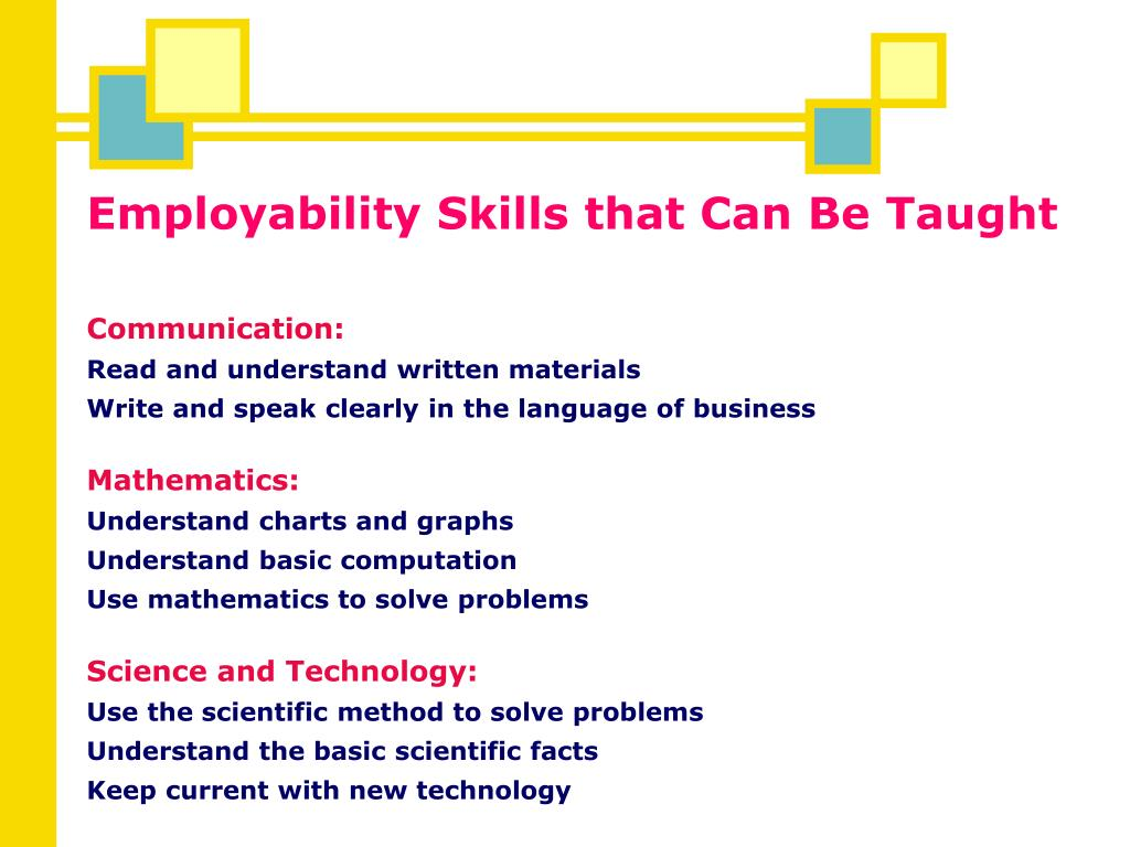 Employability Skills that Can Be Taught