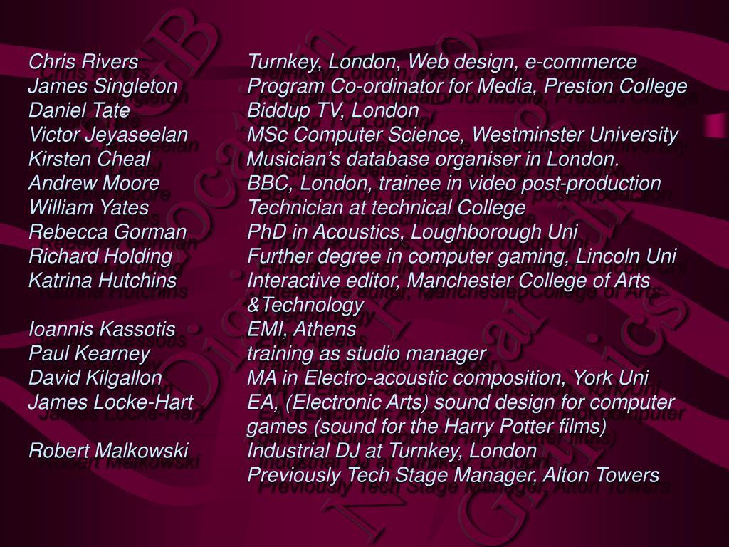 Chris Rivers   Turnkey, London, Web design, e-commerce