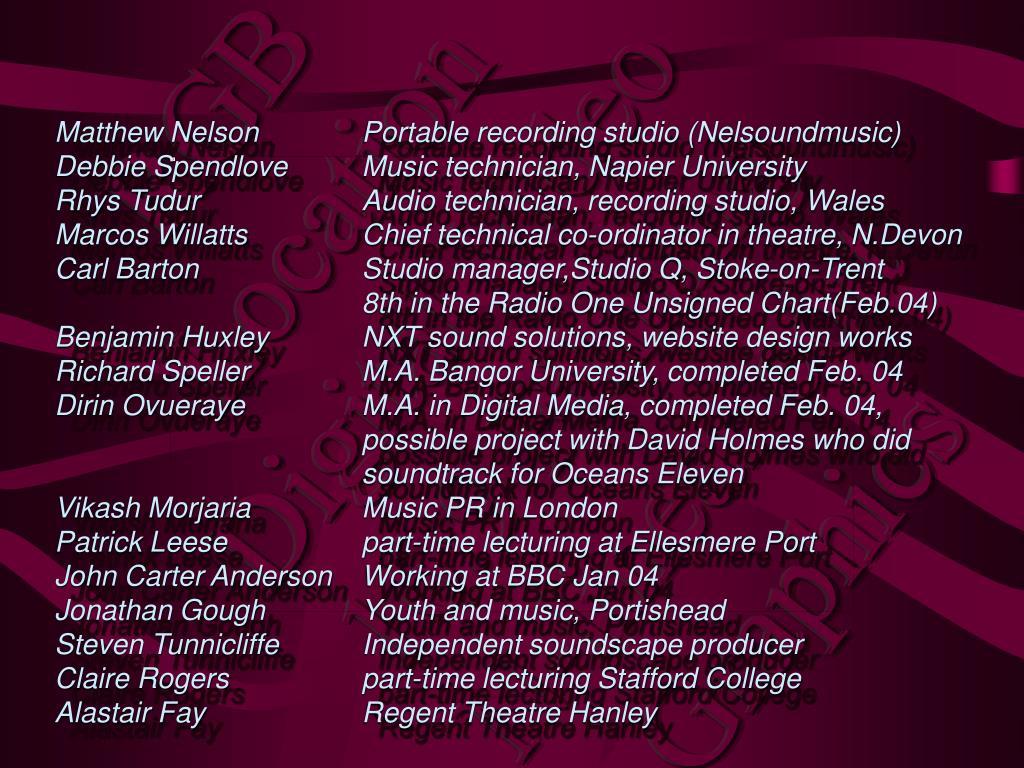 Matthew Nelson  Portable recording studio (Nelsoundmusic)