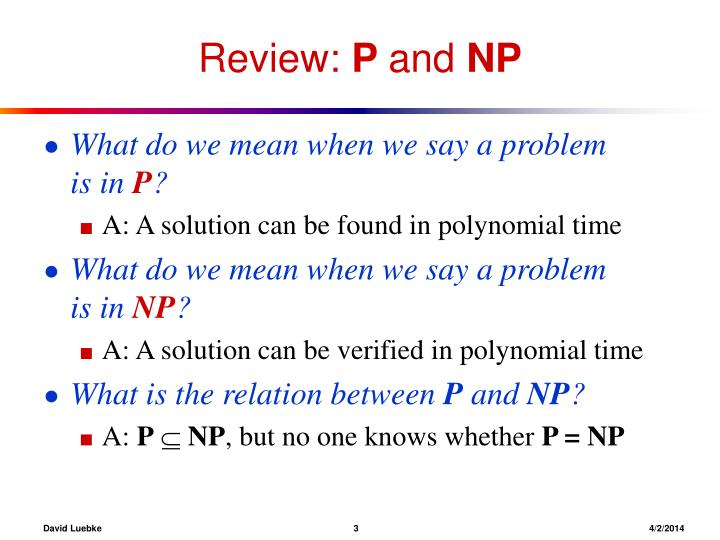 Review p and np3